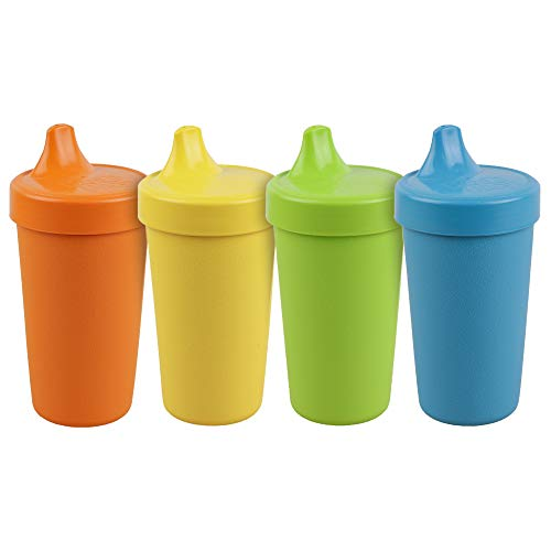 Re-Play Made in The USA 4pk No Spill Cups for Baby, Toddler, and Child Feeding in Orange, Yellow, Lime Green and Sky Blue | Made from Eco Friendly Heavyweight Recycled Milk Jugs | (Spring+)