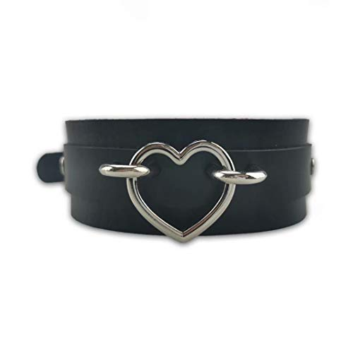 Andrewly Black Leash Choker PU Leather Necklace Adjustable Collar Neckband with Heart Shape Ring for Women Girls Men