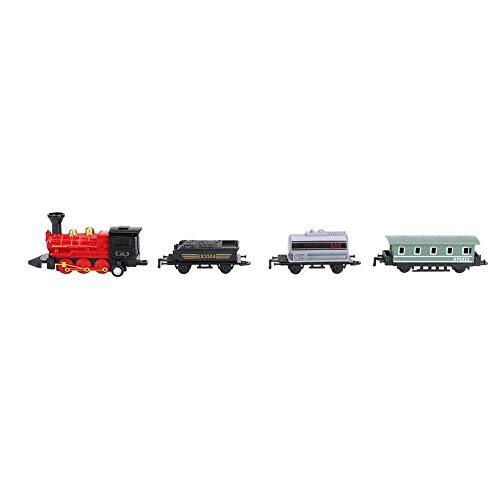 Train à vapeur jouets, fonction de retrait en alliage classique en plastique simulé conjointe Vintage train chaîne modèle cadeau pour enfance véhicule jouet(Rouge)