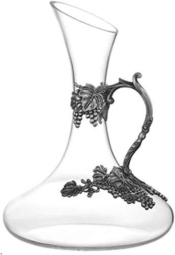 Decantador de vino de cristal hecho a mano, 1.5L CARAFE DE VINO, JARAFA DE VINO DE VINO, AEROCIÓN DE LICORULAR VIRLER, DÍA DE VINO PARA CUMPLEAÑOS DÍA DE PADRES DE NAVIDAD, 4 x Vidrio (Color: Claro, T