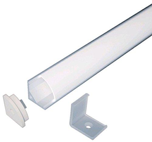 Profilo Angolare Anodizzato per strisce LED, L. 2 Metri Dimensioni 16x 16mm Diffusore Opale tappi di chiusura e Clips di fissaggio inclusi.