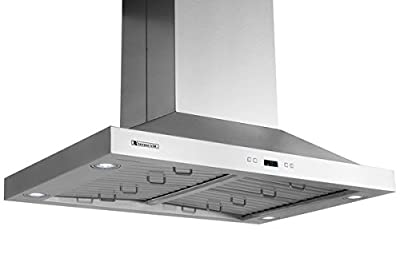 XtremeAir PX05 Island Mount Range Hood with 900 CFM Baffle Filters/Grease Drain Tunnel