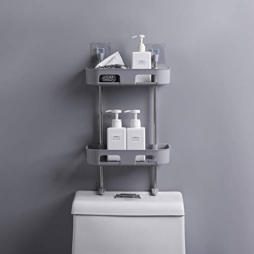 WC créatif toilettes multifonction étagères débris multicouches racks de stockage en rack bain suspendu bâton sur le stockage (Color : White, Size : 2 layer)