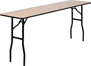 Flash Furniture 18'' x 72'' Rectangular Wood Folding Training / Seminar Table with Smooth Clear Coated Finished Top