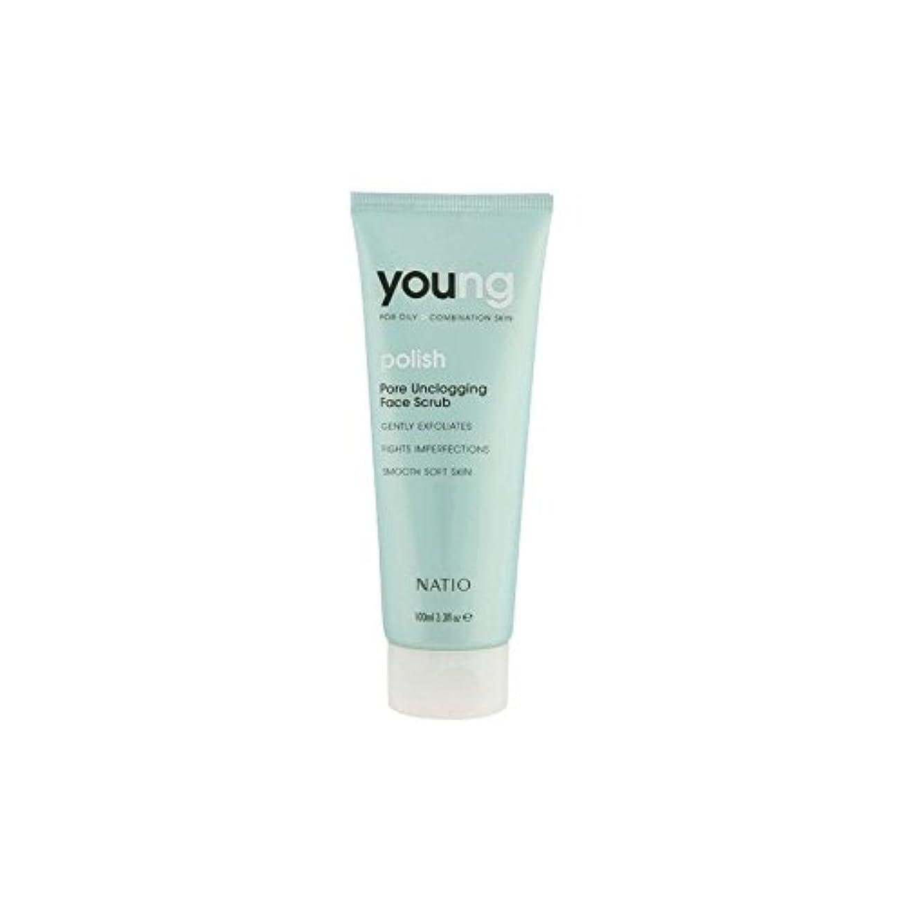 展望台近々援助するNatio Young Pore Unclogging Face Scrub (100ml) (Pack of 6) - 若いポア顔スクラブ(100ミリリットル) x6 [並行輸入品]