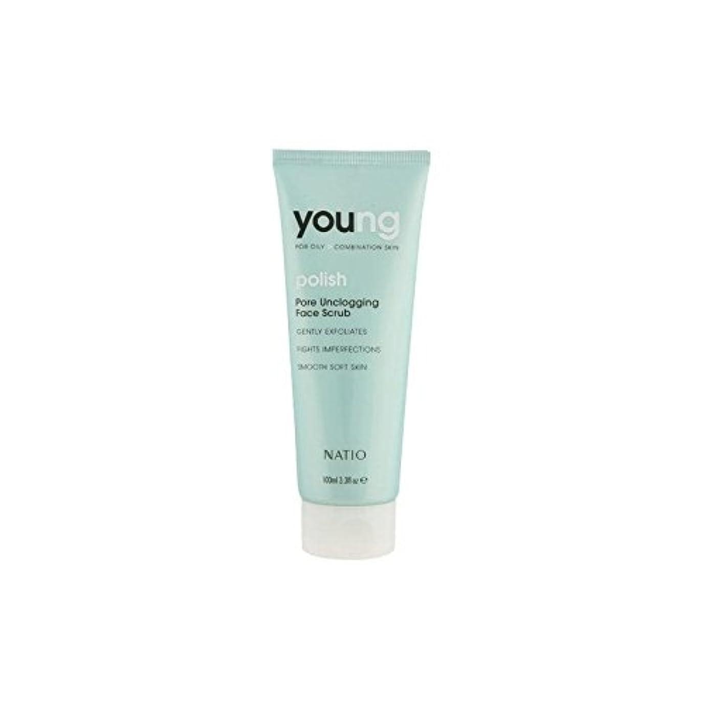 有彩色の眉トライアスロンNatio Young Pore Unclogging Face Scrub (100ml) (Pack of 6) - 若いポア顔スクラブ(100ミリリットル) x6 [並行輸入品]