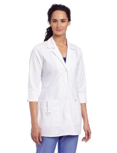 Dickies Scrubs Women's Junior Fit 3/4 Sleeve Lab Coat, White, Medium