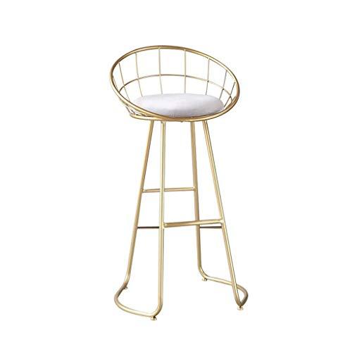 LWW Stühle, Barhocker Goldene moderne einfache Eisen Hocker Gastronomie Home Zurück Gold, 75cm Cafe Freizeit Hoch Nordic Wind geeignet für Indoor Stühle