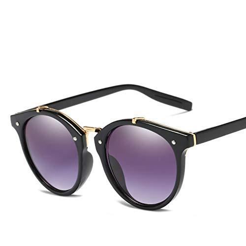 WDDYYBF Zonnebril, Casual Fgrayion Lady ronde zonnebril Vrouwen Mannen Intage Riet Frame Spiegel Zonnebrillen Voor Vrouwelijke U400 Zwart Frame Grijze Lens