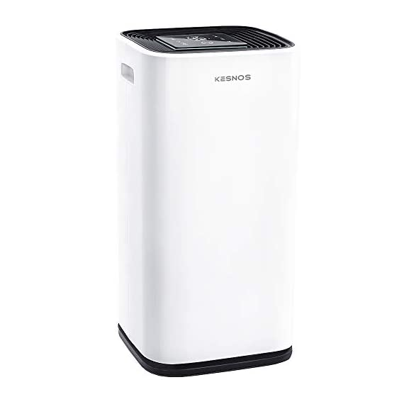 Kesnos 70 pint dehumidifiers for spaces up to 4500 sq ft at home and basements pd253d,white 1 kesnos dehumidifier for spaces up to 4500 sq ft - our dehumidifier removes up to 70 pint (50 pint new doe 2019) of moisture per 24 hours, fit for medium to large rooms in areas up to 4, 500 sq. Ft. And is able to adjust humidity from 30% to 85%, you can maintain a healthy 45%-55% humidity range easily! A dehumidifier perfect for home, basements, office, bathroom, bedroom, kitchen, stockroom, living room, laundry room, cellars, crawlspace by removing humidity. Unique design for the modern home - the kesnos dehumidifiers designed with sleek and modern look. With 360° easy-roll hidden wheels and ergonomically recessed handles, you can move around this dehumidifier easily. It is quiet operation that won't disturb you when you sleep or at work and adjustable fan speeds for multiple choices. With dry clothes function, you simply place the dehumidifier in a room where you can hang the wet clothes and let it dry clothes naturally. Easy to use dehumidifiers - simply adjust to your ideal moisture setting, then let it run its continuous 24-hour cycle until the tank is full, at which point it will automatically shut-off. 2 drainage options for your draining choices: auto drain: the with included 6. 56 feet drain hose for continuously auto-drain your dehumidifier without emptying the water bucket. Manual drain: the 1. 18 gallons water tank and bucket full indicator lets you know when the water bucket needs to be emptied.