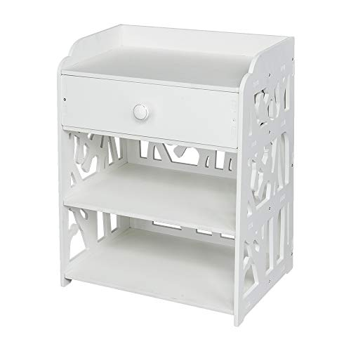 Premium Wooden End Table Bed Side Table, Bedroom Nightstand Drawer & Bottom Shelf, White