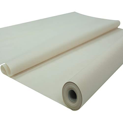 Sensalux Tischdeckenrolle, 1,18m x 25m, abwaschbare Vliesdecke, Oeko-TEX Standard 100 - Klasse I Zertifiziert, Creme