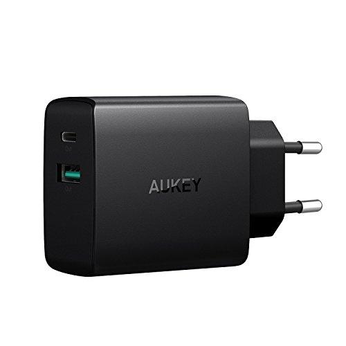 AUKEY USB C Ladegerät 2 Ports mit USB A 5V 2,1A + USB C 5V 3A USB Netzteil für iPhone X / 8 / 8 Plus, iPad Air / Pro, Nexus 5X / 6 / 6P, Google Pixel, Samsung, LG, HTC usw.