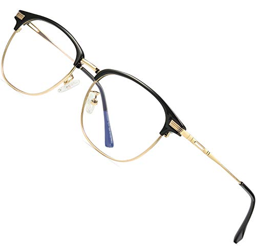 ATTCL Homme Anti lumière Bleue lunettes de lecture Ultra Léger TR90 Anti fatigue Oculaire Filtre UV Monture de Lunettes5054-Or-Noir