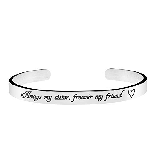 Joycuff Wedding Gift for Sister MOH Jewelry Bridesmaid Cuff Bangle Always My Sister Forever My Friend Bracelet