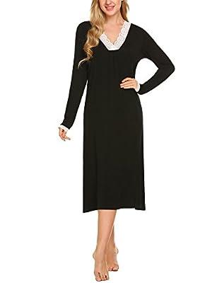 Ekouaer Women's Lace V-Neckline Nightshirt Long Sleeve Sleep Shirt (Black S)
