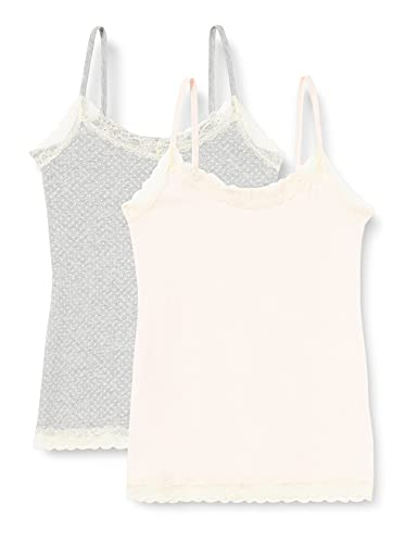 Marca Amazon - IRIS & LILLY Camiseta de Tirantes con Encaje Body Natural para Mujer, Pack de 2, Multicolor (Soft Pink/Grey), XS, Label: XS