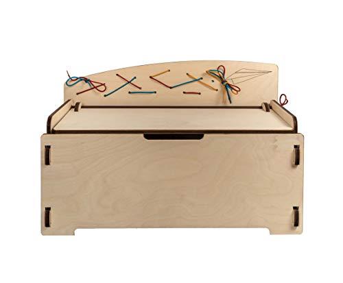 Imagen para Pepetta el banco para niños con los cordones Montessori – Baúl para poner y atar los zapatos