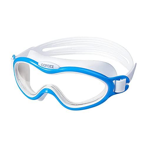 QINX Gafas de natación para niños, antivaho, impermeables, para niños, jóvenes, montura grande, gafas de natación de una pieza, color azul
