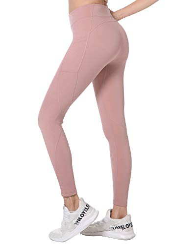 Holure High Waist Yoga Pants with Pockets, Tummy Control, Workout Pants for Women 4 Way Stretch Yoga Leggings with Pockets Pink M