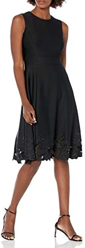 Calvin Klein Women s Sleeveless Floral Embroidered Fit and Flare Dress Black 2 10 product image