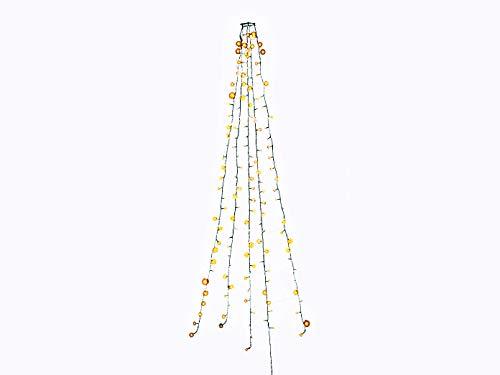 Led-lichtsnoer boom mantel met draadloos stopcontact en afstandsbediening, 200 warm witte diodes op 5 strengen, 24 V interne transformator, donkergroene kabel