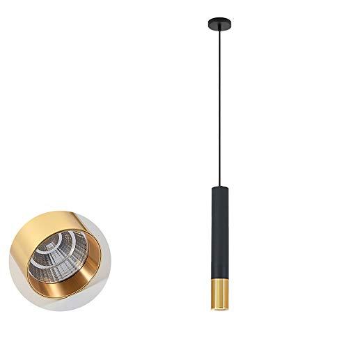TopDeng Industriale Metallo Cilindro Lampade A Sospensione, LED Bancone Bar Ristorante Lampadario Lampade, Lampada Plafoniera Per Salotto Camera Da Letto-6x40cm Bianco Caldo-7W