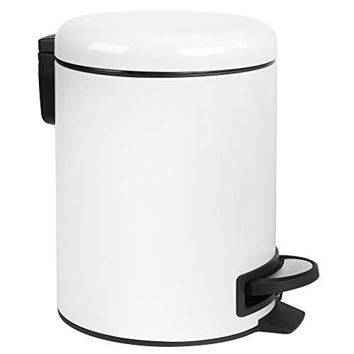 SONGMICS Mülleimer, Abfalleimer, 5 Liter, mit Pedal, Inneneimer aus Kunststoff, Softclose, geruchsdicht, weiß, 26,5 x 20 x 27 cm