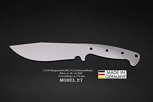 Rohling Messer Model 27 / 274mm Poliert Messerbau Messerstahl Messerklinge Klingenrohling Jagdmesser