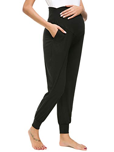 Liu & Qu Women's Maternity Comfy Casual Pants Stretchy Comfortable Lounge Pants Black