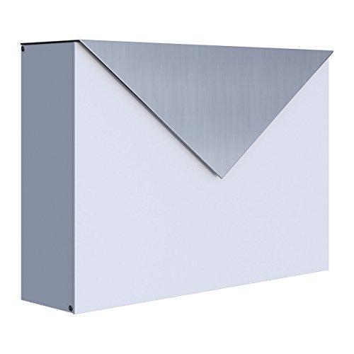 Briefkasten, Design Wandbriefkasten Letter Weiß/Edelstahl - Bravios