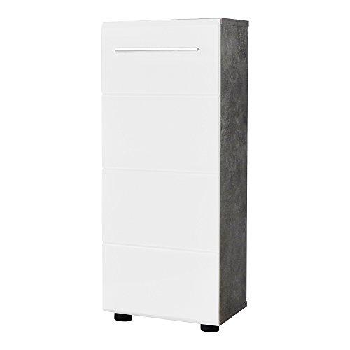 trendteam Badezimmer Kommode Schrank Nano, 32 x 82 x 28 cm in Korpus Beton Stone Melamin, Front Weiß Hochglanz inkl. Beleuchtung