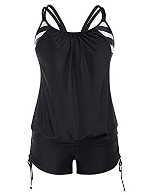Hanna Nikole Tankini Swimsuits for Women with Swim Bottoms Layered Swimwear 18W