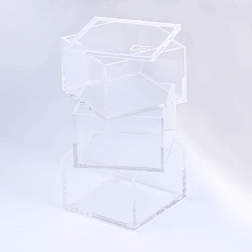 Acrylic 3 Tier Square Stackable Desk Organizer Clear Odds Ends Box by Draymond Story Thank You product image