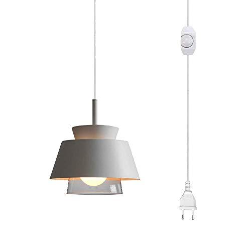 FSLIVING - Lámpara colgante para burro sin cableado (mango de cristal, 4,5 m, enchufe CE, cable de interruptor de encendido/apagado, macaron, lámpara de hierro blanco nórdico