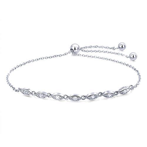 Braccialetto dell'amicizia in argento Sterling 925 a forma di marquise e zirconia cubica incastonata con diamante incastonato, catena regolabile, per donne e ragazze