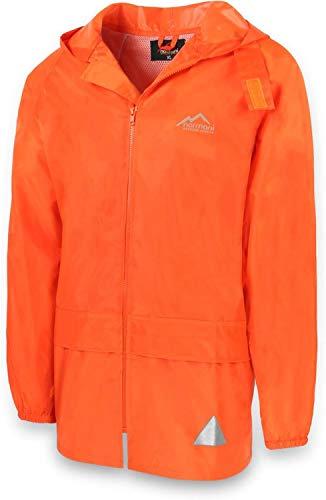 Outdoor Regenjacke Laufjacke Fahrradjacke mit Kapuze und 3M Scotchlite Reflektoren beidseitig für maximale Sicherheit Farbe Orange Größe 7/L