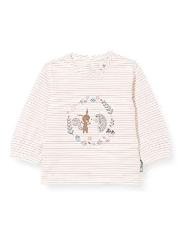 Sterntaler Mädchen Langarm-shirt Langarm Shirt mit elastischen Bündchen Streifenmuster Tier und Wald Motive, Beige (Ecru), 86 EU