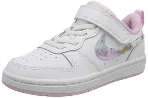Nike Court Borough Low 2 SE (PSV), Sneaker, White/Multi-Color-Light Arctic Pink, 28.5 EU