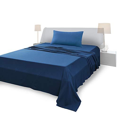 Juego de sábanas para cama individual, material 100% puro algodón, sábanas y 1 funda de almohada, fabricado en Italia, azul marino
