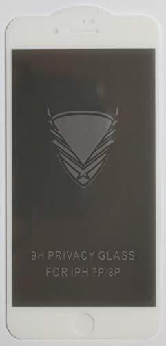 1x Privacy Full Cover Schutzglas für Apple iPhone 7 Plus in Weiß Glasfolie 9H Displayschutzfolie Glass Premium Tempered Glass Protection (kein 3D Glas)