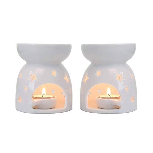 ComSaf Duftlampe Keramik Weiß mit Kerzenhalter 2er-Set - Sternenmuster