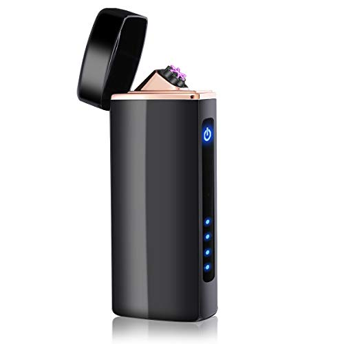 NASUM Mechero Electrico, Encendedor Electrico de Doble Arco sin Llama - Mechero Recargable Resistente al Viento (Acampada) con Cable USB, Mechero de Plasma sin Gas Negro