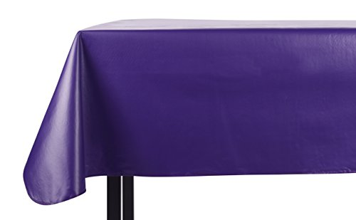 Yourtablecloth Heavy Duty Vinyl Rectangle or Square Tablecloth – 6 Gauge Heavy Duty Tablecloth – Flannel Backed – Wipeable Tablecloth with Vivid Colors & Many Sizes 52 x 90 Purple