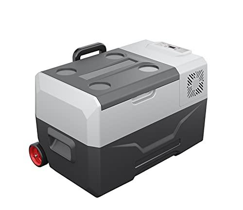Refrigerador de yate de automóvil, refrigerador de control de dientes azul portátil, refrigerador de enfriamiento rápido, refrigerador compacto 30L, fuente de alimentación de voltaje de 12V / 24V,