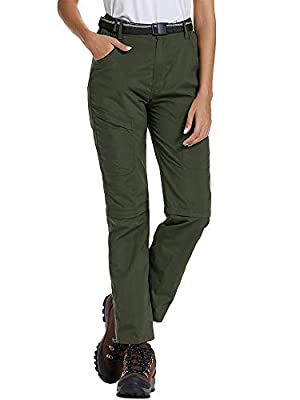 Asfixiado Women's Cargo Pants Hiking Quick Dry Lightweight Convertible Stretch UPF 50 Fishing Safari Travel Shorts Pants (6063 Army Green, 36)