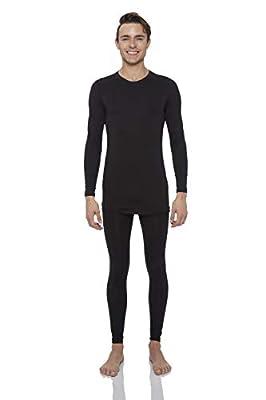 Rocky Thermal Underwear for Men Midweight Fleece Lined Thermals Men's Base Layer Long John Set (Black - Midweight (Fleece) - X-Large)