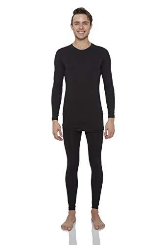 Rocky Thermal Underwear for Men (Thermal Long Johns Set) Shirt & Pants, Base Layer w/Leggings/Bottoms Ski/Extreme Cold (Black - Midweight Fleece/Medium)