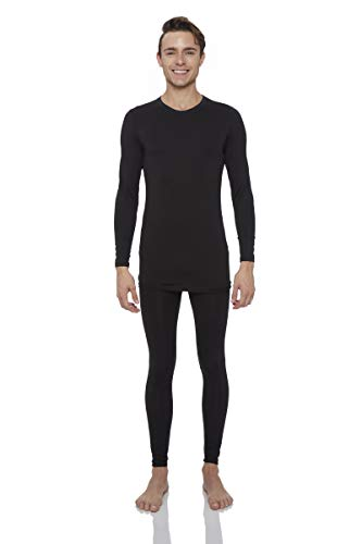 Rocky Thermal Underwear for Men Midweight Fleece Lined Thermals Men's Base Layer Long John Set (Black - Midweight (Fleece) - XX-Large)