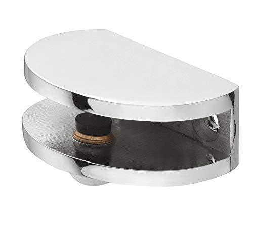 Gedotec Design Glas-Bodenträger Schrank Klemm-Tablarträger Glasböden Regalträger rund - Luna | Regal-Halter für Tablardicke 5-8 mm | Halterung Chrom poliert | 1 Stück - Fachbodenträger Metall